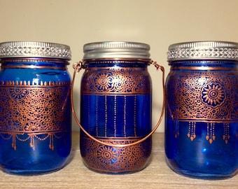 Trio of Blue bohemian henna lantern/wedding vase/patio lights/votive holder/mason jar