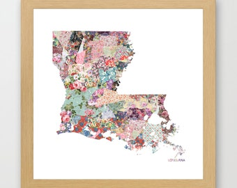 LOUSIANA MAP, louisiana painting, louisiana art, colorful map, flowers composition, roses, Giclee Fine Art, Poster Print
