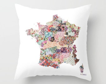 FRANCE map pillow | Pillow Painting | France pillow | Painting of France | Pillow map | Throw Pillow | Flowers compositions