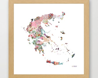 GREECE MAP print, Greece painting, map of Greece, Painting of Greece, Greece poster, Giclee Fine Art, Flowers composition