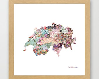 Switzerland MAP, flowers composition, roses, Giclee Fine Art, Poster Print