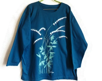 Teal Shirt XL Cotton Shirt Women's Clothing Vintage 90s Shirt Floral Shirt Long Sleeves Everyday Clothing Free Time Clothing Finnish Shirt