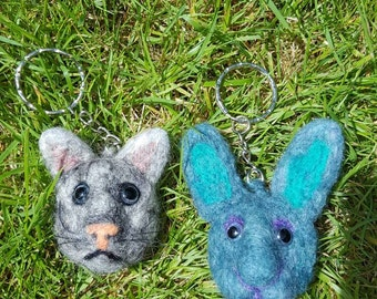 Needle felted cat rabbit keyring