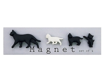 Cute Cat Magnets, Cute Fridge Magnets, Refrigerator Magnets, Kitchen Magnets, Office Magnets, Cat Lover Gift, Black Color, Set of 4
