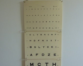Old plate test of eyesight / vision composed of letters, mark ELLA