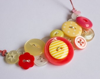 Yellow & Coral Button Necklace, Vintage, Upcycled