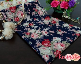 Navy Floral Cotton Fabric Navy Red Pink Floral Fabric Sewing Fabric Floral Summer Fabric 100% Cotton Fabric For Craft