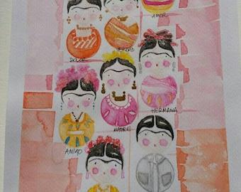 La Vida Frida, watercolor, pastel and ink. Watercolor, pencil, ink. cm 18x24