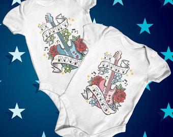 My Family Rocks Baby Bodysuit   Music Baby Bodysuit   Cute Baby Clothes   Funny Baby Bodysuit   Baby Shower Gift   Tattoo Baby Bodysuit