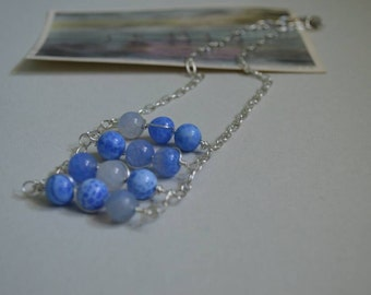 Water Blue Glass Ladder Necklace