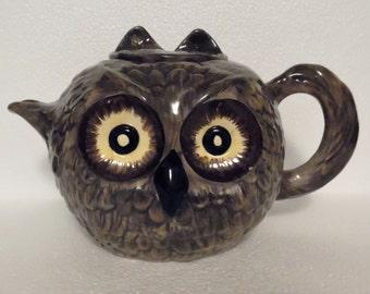 Bitossi  Aldo Londi Hand Painted Ceramic Owl Teapot ~ Owl Teapot 1930's ~ Bitossi Ceramiche Factory Florence Italy