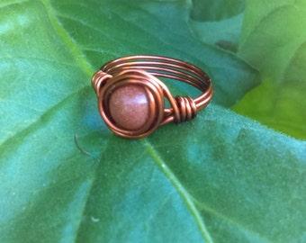 Goldstone Wire Wrap Copper Ring Bohemian Style