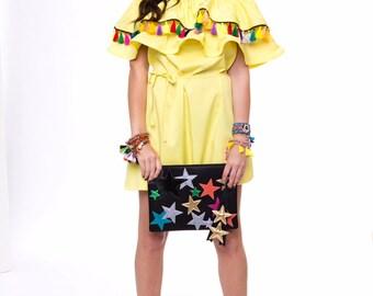 Pompon tassels boho dress Yellow