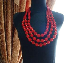 Indonesia Handmade batik 3-tier bali beach batik necklace