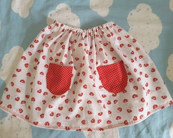 Cotton elastic waist 6 and 7 year old skirt ground fungus