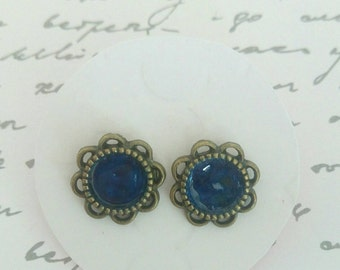 Bronze & Blue Enamel Stud Earrings - Surgical Steel Posts