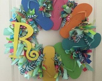 Monogrammed flip flop wreath