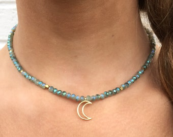 Blue/Green Crystal Necklace with Gold Crescent Moon