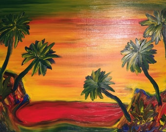 Finger Painted Painting 5 Palms