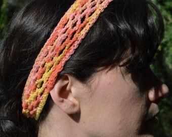 Crochet cotton stretch headband, MEDIUM, adult sizes