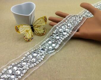"1 yard 5cm 1.96"" wide sequins Rhinestones crystal tulle bridal wedding dress tapes lace trim ribbon 85udj free ship"