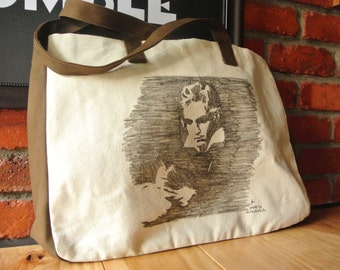 Canvas Tote Bag, Handmade Sketch Tote Bag (Sketches of Europe - BEETHOVEN A3 Size Tote Bag)