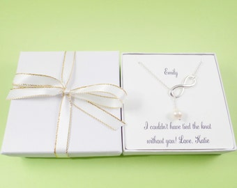 Infinity bridesmaids gift,infinity necklace,pearl necklace,bridesmaids necklace,bridesmaid jewelry,wedding jewelry