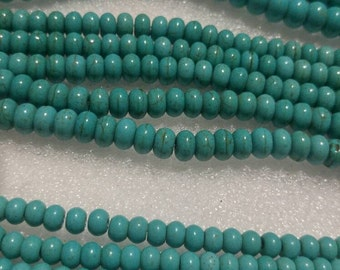 6mm, 8mm, 10mm turquoise rondelle beads