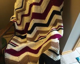 Crocheted zigzag blanket