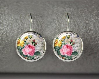 Rose earrings, Floral earrings, Vintage rose jewelry, Pink rose earrings