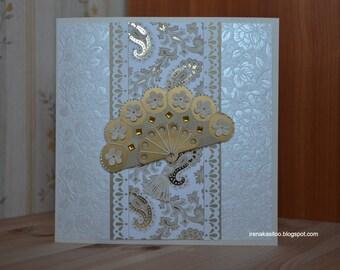 Handmade birthday wedding mothers day card Golden Fan