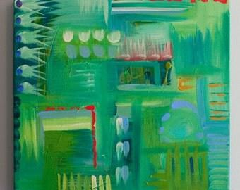 Original Art, Acrylic Painting, Abstract, Asheville Artist, 12x12