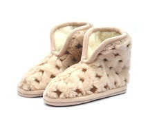 Merino Wool Slippers , Soft Shoes , Boots  House Shoes  , Booties , clogs, Women or Men , Warm and comfortable , Non Slip Leather Soles
