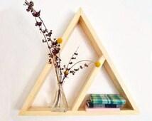 wall shelf, wall shelf wood, Rustic wooden wall shelf, wall hanging, wall shelf, pine wood shelf geometric shelf triangle shelf Three Snails