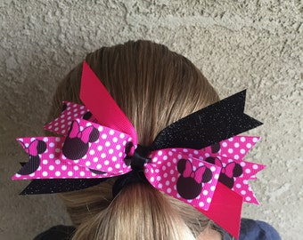 Pink and Black Sparkle Polka Dot Minnie Mouse Hair Bow
