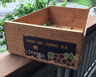 Vintage Grape Crate, Wood Crate, Grape Crate