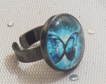 Ring with Butterfly blue