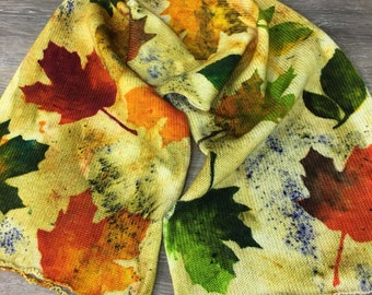 I Dream of Fall - Hand Dyed Stenciled Single or Double Strand Sock Blank, Superwash Merinol Nylon Blend Sock Yarn, Fall Leaves