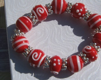 Red and White Bracelet
