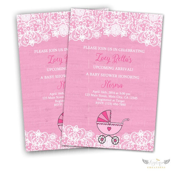 Lace and Baby Carriage Invitations & Blank Thank You Card to match