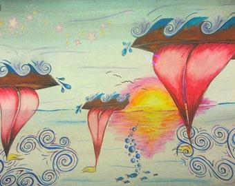 Dreamboat watercolor painting