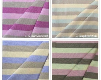 100% Cotton Striped 1 x 1 Rib Knit Fabric By the Yard - 4001CS