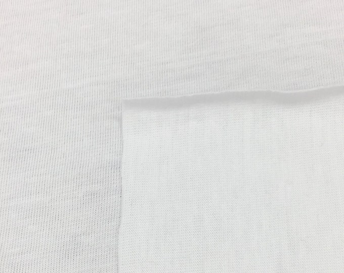 100% Cotton Lightweight Jersey Knit Fabric (Wholesale Price Available By The Bolt) USA Made Premium Quality - 2550 White - 1 Yard