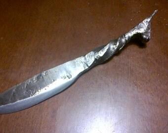 Hand forged Impala headed railroad spike knife
