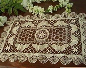 Handmade Crochet Lace Table Placemats Doilies Vintage Bobbin Lace Rectangular Dollies 1 Dozen