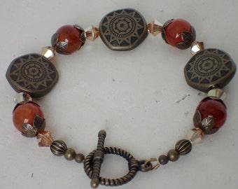 Orange Agate Gemstone and Swarovski Crystal Brass Beaded Bracelet