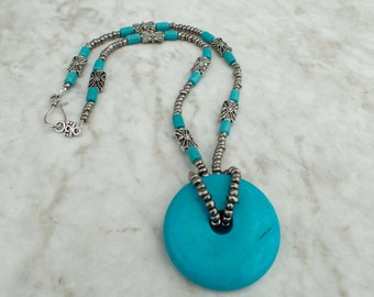 Turquoise Gemstone Donut Focal Beaded Necklace