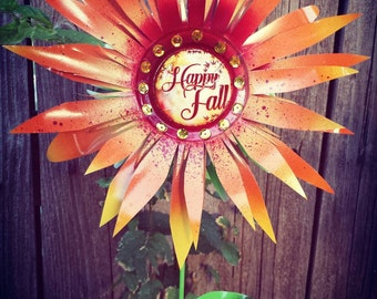 Fall Flower Garden Stakes , Autumn Flower Garden Decor, Metal Art Fall Season