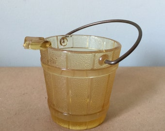 Carnival Glass Amber Bucket with Handle. Ashtray