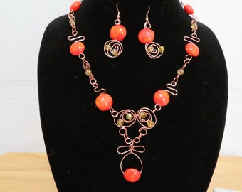 Orange Crush necklace and earrings
